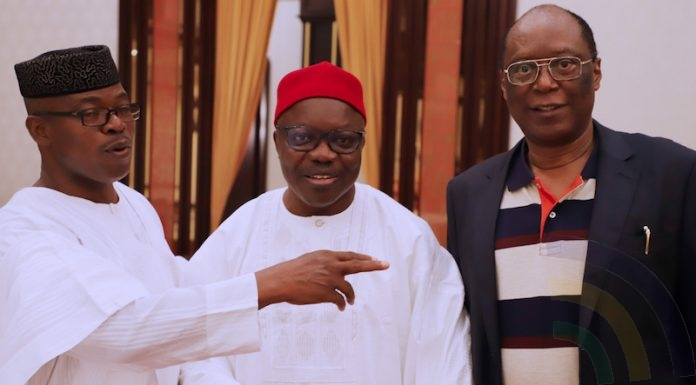 Former Ekiti State Governor, Chief Segun Oni; Former Delta State Governor, Chief Emmanuel Uduaghan and Former Edo State Governor, Prof. Oserhiemen Osunbor during the APC Caucus meeting where Former Delta State Governor, Chief Emmanuel Udughan was presented to the leaders of the party at the State House Banquet Hall, Presidential Villa, Abuja - Delta State Emmanuel Uduaghan joins APC