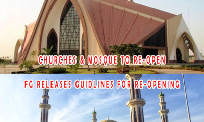 FG Plans to Re-Open Churches & Mosque in June - Read Guidelines