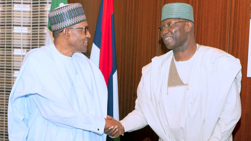 President Muhammadu Buhari in a handshake with the SGF Mr. Boss Mustapha during an audience with Founder of Dana Air the State House, Abuja. PHOTO; SUNDAY AGHAEZE. JULY 3 2019. - Tagged in Coronavirus and the adversity of the asymptomatic.