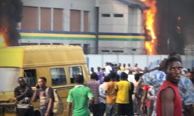 thugs set apapa police station on fire