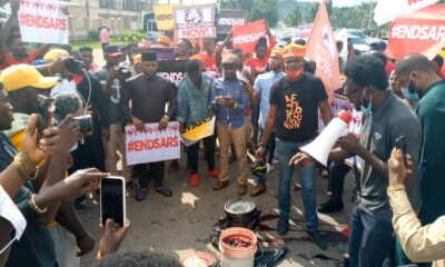 The #EndSARS protest enters its second day as thousands of youths in Lagos, Abuja, Delta, and Imo state continue to demand the complete ban on police unit- Special Anti Robbery Squad