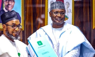 Chairman Independent National Electoral Commission, Prof. Mahmood Yakubu, handed over to Air Marshall Ahmed Mu'azu pending his confirmation by the senate.