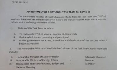 The Minister of Health, Dr. Osagie Ehanire has appointed a National Task Team on COVID-19 vaccines. This was disclosed in a press release from the office of the permanent secretary, ministry of health.